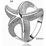 1PC Women Silvery Luxury Starfish Beautiful Charming Ring LOVE STORY (8#)