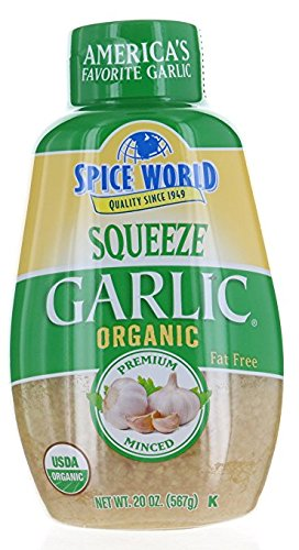 Spice World, ORGANIC GARLIC - SQUEEZE Container -Value Size 2 Pack ( 20 OZ Each ) by Spice World