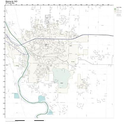 Nd Zip Code Map.Amazon Com Zip Code Wall Map Of Bismarck Nd Zip Code Map Laminated