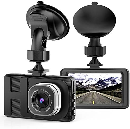 VKAKA Dash Cam – 3.0 DVR Monitor Camera Video Recording System in Full HD 1080p w Built in G-Sensor Motion Detect Parking Control Loop Record Support