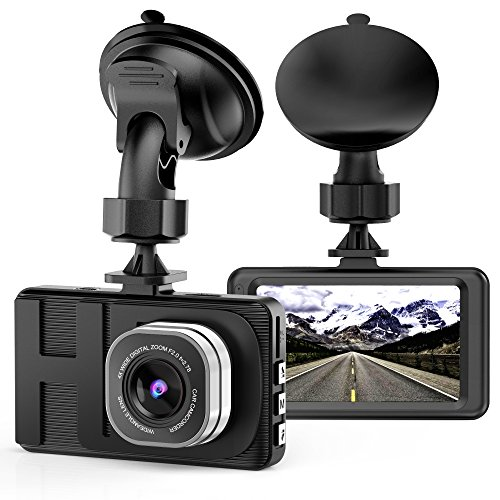 Dash Cam Camera for Cars with Full HD 1080P 170 Degree Super Wide Angle Cameras, 3.0″ TFT Display, G-Sensor, WDR, Loop Recording