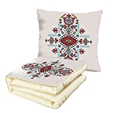 iPrint Quilt Dual-Use Pillow Geometric Decor Mexican and African Ethnic Tribal Ornamental Folkloric Unique Vintage Pattern Multifunctional Air-Conditioning Quilt Multi