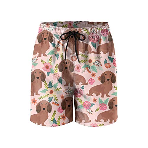 Pink Dachshunds Dog Floral Mens Beach Swimming Trunks Casual Shorts Summer Custom Quick Dry Swim Trunks