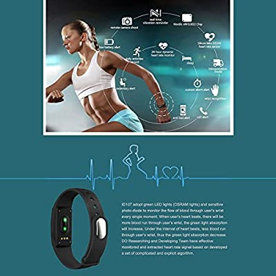 Heart Rate Monitor Fitness Tracker Smart Wristband with Multi-Functions Activity Tracker for Android and iOS