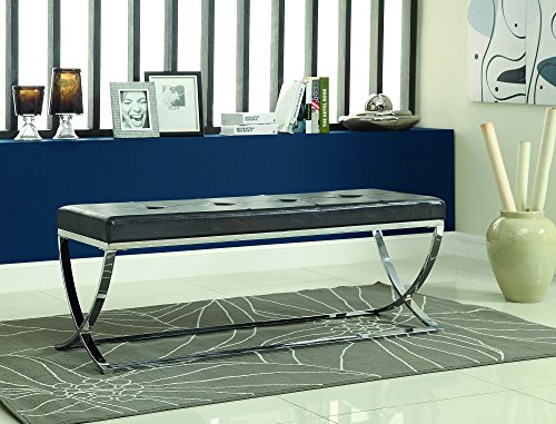 Coaster Contemporary Man-Made Leather Accent Bench with Chrome Metal Base, (Chrome Modern Bed)