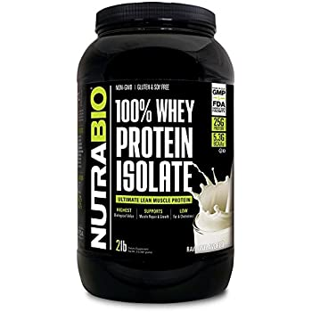 NutraBio Whey Protein Isolate (Unflavored, 2 Pounds)