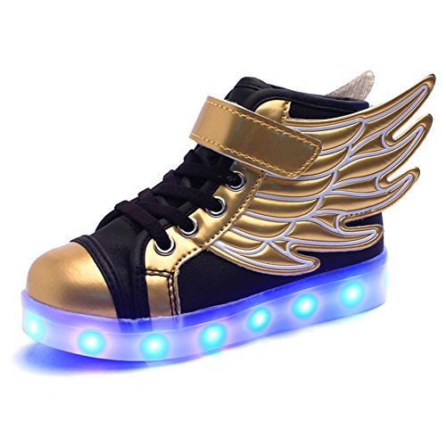 Santimon Kids Boys Girls USB Charger 7 Colors LED Lights Luminous Sports Shoes Sneaker Athletic Wings Trainers High-top Shoes Gold-Black 2.5 B(M) (High Tops Racing Shoes)