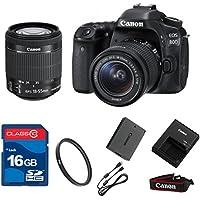 Canon 80D DSLR + 18-55mm IS STM Lens + 16GB Memory + UV Filter + Deluxe Value - International Version