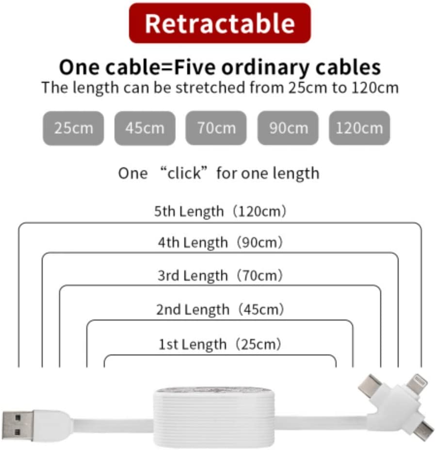 USB C Charger Cable Silver Roses White Multi 3 in 1 Retractable USB Extension Cable with Micro USB//Type C Compatible with Cell Phones Tablets and More