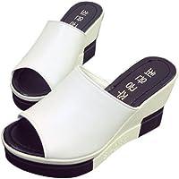 Femmes Sandales Talon Compensé Chaussures Tongs Sandales Talons Hauts Bout Ouvert Plate-Forme Mode Été Pente Sandales Mocassins Chaussures ELECTRI
