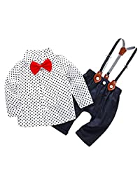 Infant Baby Boy Formal Wear Skin-Friendly Outfits Long Sleeve Romper jumpsuit with Bow Tie Suspender for 6-9 Months
