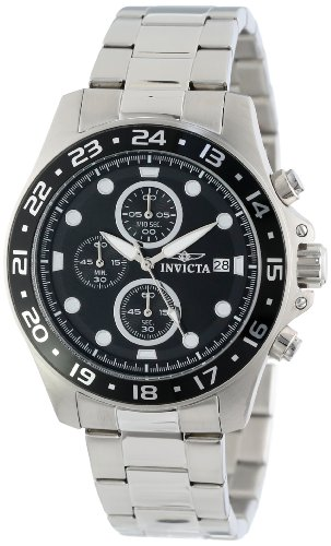 Invicta Men's 15204 Pro Diver Chronograph Black Dial Stainless Steel Watch by Invicta