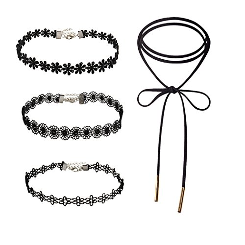 [NAWAY 4 Pieces Black Gothic Tattoo Lace Tassel Choker Necklace] (Cheap Roman Costumes)