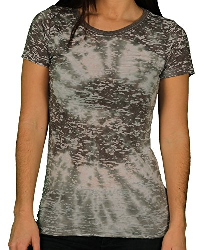 Blue 84 Juniors Burn-Out Sublimation Twirl-Dye Tee, Grey/Grey, Size Medium ()