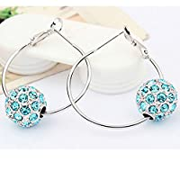 Chokushop Top Quality Pairs Beautiful Fashion Jewelry Silver Plated Clip Earring Disco Crystal Ball Shamballa Colorfull Earrings