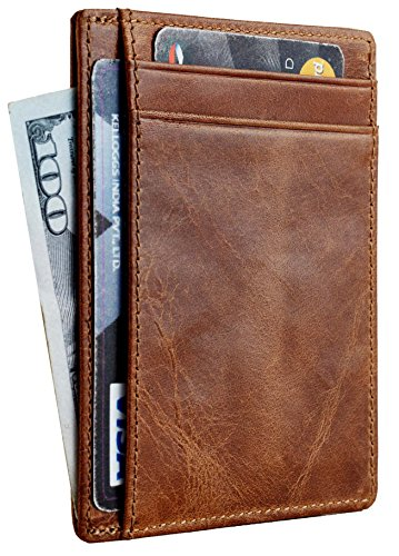 Travelambo RFID Front Pocket Wallet Minimalist Wallet Slim Wallet Genuine Leather(vintage brown)
