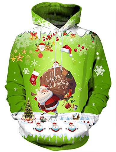 (Yasswete Unisex 3D Snow Hooded Xmas Snowman Patterned Sweaters XL)