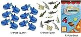 shark party favor box - 25 Piece Shark Theme Birthday Party Favor Bundle Pack with Shark Squirters, Shark Figures, and a Shark Sticker Book