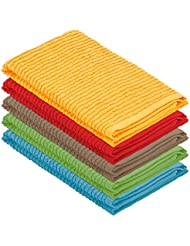 DecorRack 5 Pack 100% Cotton Bar Mop, 16 x 19 inch, Ultra Absorbent, Heavy Duty Kitchen Cleaning Towels, Assorted Colors (5 Pack)