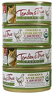 Tender & True 854017 Cat Food Organic Chicken & Liver 5.5oz canned wet cat food, One Size