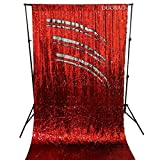DUOBAO Sequin Backdrop 8Ft Red to Silver Wedding Pics Backdrop Mermaid 4FTx8FT Sequin Backdrop Curtain Reversible