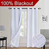 Primitive Linen Look, 100% blackout curtain(with Liner), White blackout curtains& Blackout Thermal Insulated Liner,Grommet Curtains for Living Room/Bedroom,burlap curtains-Set of 2 Panels(40x84 White)