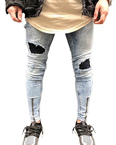 Hombre Elásticos Cómodos Jeans Slim Fit Denim vaqueros Destruido Rotos Tapered Tejanos Pantalón 28Azul