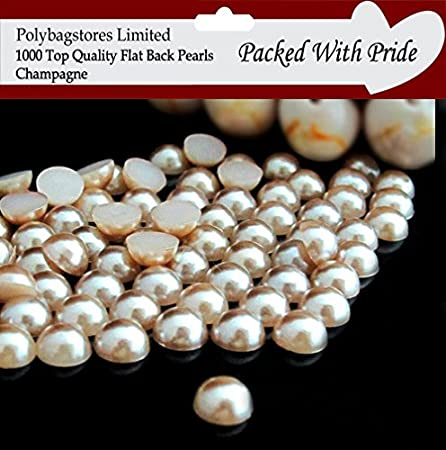 DECORATION CRAFTS 1000 HALF ROUND CHAMPAGNE  *PEARL BEADS* FOR NAIL ART