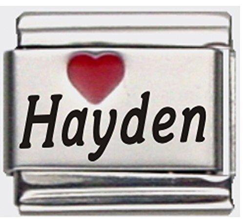 Hayden Red Heart Laser Name Italian Charm Link