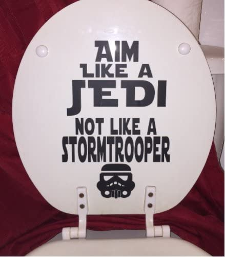 Star Wars Toilet Decal for Bathroom~Aim Like a Jedi in black