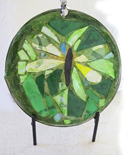 (Six Inch Round Mosaic Art Glass Sun Catcher Featuring a Yellow, Green and Clear Dragon Fly)