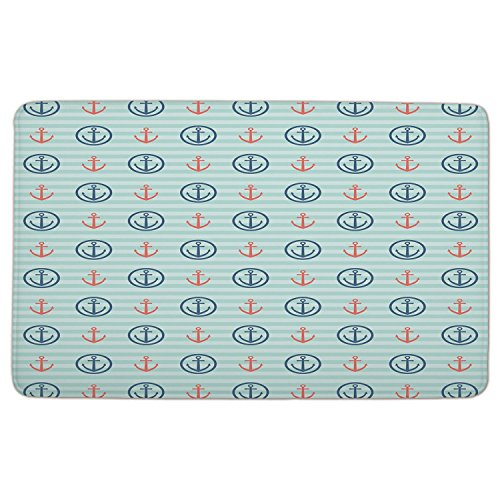 Flannel Microfiber Doormat Mat Rug Carpet,Anchor,Summer-Holiday-Adventure-Horizontal-Striped-Backdrop-with-Icons-Bon-Voyage-Decorative,Seafoam-Blue-Coral.jpg,Non-slip Rubber Backing Soft - Voyage Bon Anchor