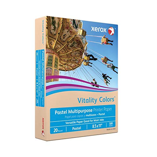 Xerox Vitality Colors Multipurpose Printer Paper, Letter Size Paper, 20 Lb, 30% Recycled, Tan, Ream of 500 Sheets