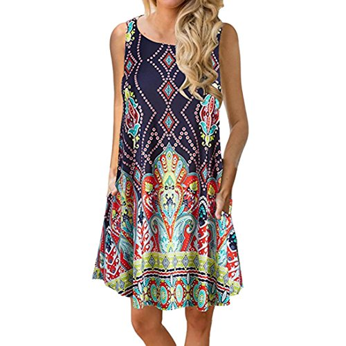 Women Dress-Han Shi Summer Casual Floral Printed Swing Sundress with Pocket (Multicolor, S)