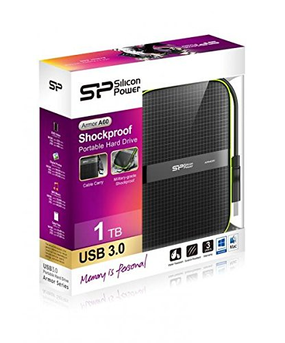 1TB Silicon Power Armor A60 Shockproof Portable Hard Drive - USB3.0 - Black/Green Edition by Silicon Power (Image #1)