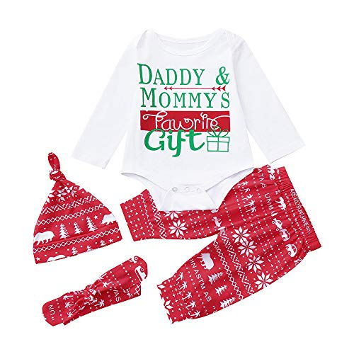 Hattfart 4PCS Babys Christmas Bodysuit Romper with Xmas Tree Pant and Hat Headbands Outfits (70) ()