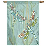 HUANGLING Doodle Style Giant Dragonfly Figures On Lake Bushes Nature Exotic Picture Art Decorative Home Flag Garden Flag Demonstrations Flag Family Party Flag Match Flag 27''x37''