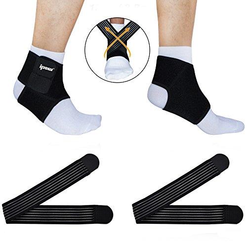 [ 2er Set ] Ipow® Knöchelbandage Fußbandage Atmungsaktive Einstellbare Sprunggelenk Unterstützung für Arthritis, Verstauchungen und Sport