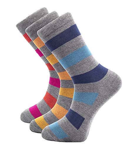 - 3 Pairs Mens Bamboo Crew Socks for Everyday Wear, Super Soft and Comfortable, Shoe Sizes (L 8-12)
