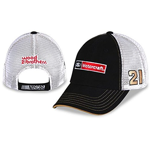 NASCAR Adult Sponsor Trucker Mesh Back Racing Hat / Cap (#21 Ryan Blaney) Checkered Flag Nascar Racing Cap