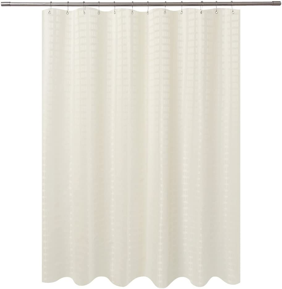 Barossa Design Fabric Shower Curtain Cream Hotel Grade, Water Repellent and Machine Washable, 71 x 72 inches Brick Dobby Pattern for Bathroom