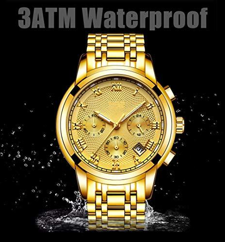 N·XHXL herr kvartsklocka, topp helt stål vattentät sportarmbandsklocka för affärer casual, visning datum klocka, fantastiska presenter till dig, guld