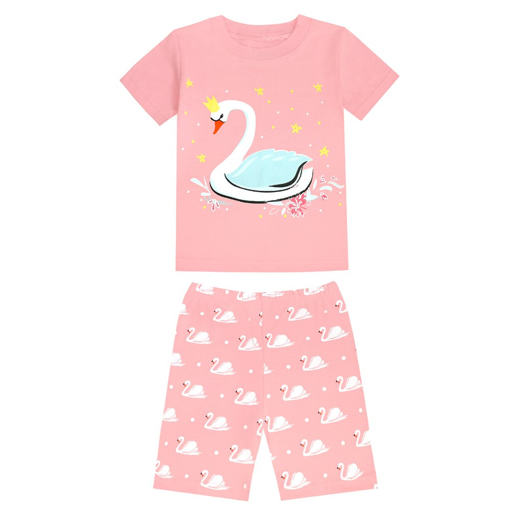TinaLuLing Summer Short Sleeve Girls Pajamas Kids Pajamas Cotton Sleepwears Swan Animal Pajamas 2-8 Years (7 years)