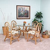 Premium Rattan Dining Furniture Sundance 5PC Set Regal Brand Jacquard Fabric Palm Tree (Honey Finish)
