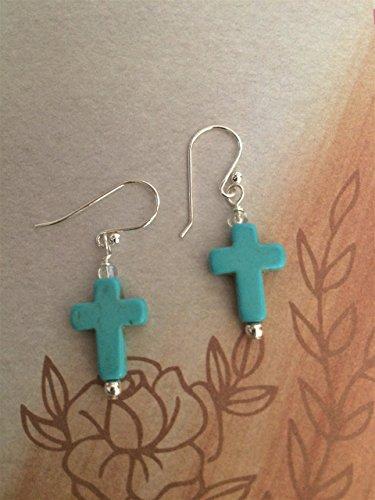 Bohemian Turquoise Howlite Gemstone Cross Earrings with Sterling Silver Ear Wires (Cross Silver Turquoise Earrings Sterling)