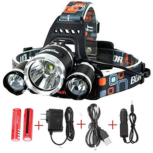 Generic 6000 Lumens Headlamp LED Flashlight Bright Headlight Torch with Rechargeable Batteries and Wall Charger for Hiking Camping Riding Fishing Hunting by FHX