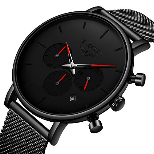 Mens Watches Waterproof Chronograph Sport Analog Quartz Watch Men Mesh Stainless Steel Black Wristwatch