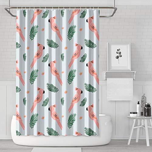 Bird Tropics Bird Cockatoo Jungle Bird Animal Funny Shower Curtain with Hooks Bathroom Fabric Curtains - 72 X 72 Inch