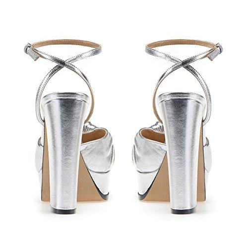 Talon 35 Silver Noeud Fête Mode Femme 081 De KJJDE Haut Sexy Soirée Club Mariage Transgenre Plateforme TLJ qR0xta