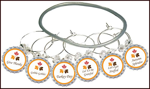 Thanksgiving Glass (Thanksgiving Wine Charms Autumn Splendor - Fall Holiday Glass Tags and Identifiers For Turkey Dinner - 8 wine charms)